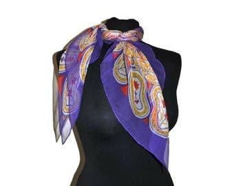 Vintage Purple Chiffon Scarf with Mustard Detail Paisley Pattern Scarf