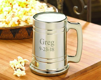 Personalized Gunmetal Beer Mug - Personalized Gunmetal Glass Mug - Groomsmen Men Gifts - Wedding Gifts - Groom Gift - GC827