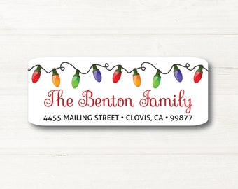 Christmas Lights, Return Address Label, Personalized, MATTE, Holiday, Light Strand, Mailing Label
