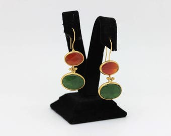 Perfect hand made our product agathe green agathe   stone silver for lady gold  plated earring