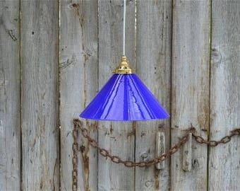 Vintage medium handmade Italian blue glass cooli pendant light lamp shade MBG3