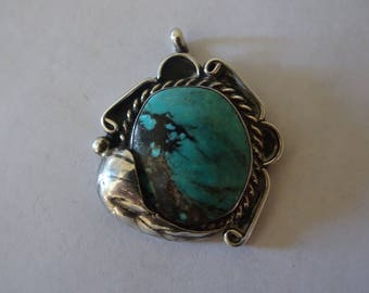Native American Turquoise and Sterling Silver Pendant - FREE SHIPPING
