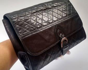 Sale! YSL Bag.  Yves Saint Laurent Vintage Black Quilted Leather Oversized  Clutch Bag.  French Designer  Bag