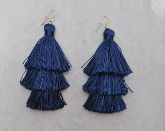 Navy Layered Tassel Earrings