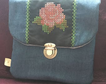 Clutch Bag with cross stitch rose motif