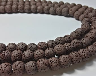 8 mm 10 mm Lava Beads,  Volcanic Lava Beads, Round  Beads, Mala Beads,  Lava Beads , natural Stone  Beads,