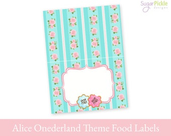 Alice in Onederland Tent Cards, Alice in Onederland Food Cards Printable, Tent Cards printable, Food Labels, Alice in Onederland Decorations