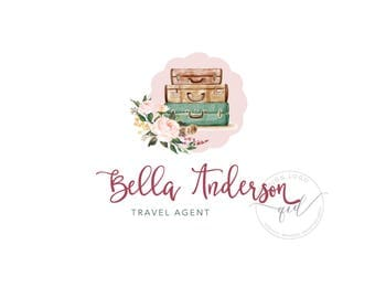 Travel agent logo, colorful travelling blog logo design with peony rose floral and blush background, great for small business marketing