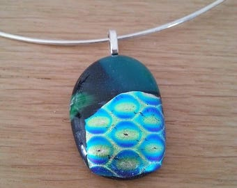 """Bubbles"" green""glass pendant and neck"