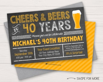 Cheers and Beers to 40 Years Birthday Invitation | 30th, 40th, 50th Surprise Party | Beer Yellow and Chalkboard | Personalized & Printable