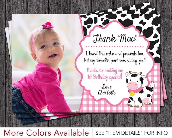 Cow birthday thank you card personalized cow thank you cards il570xn bookmarktalkfo Gallery