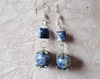"""lapis stones earrings vintage style jewellery pendants woman lazzuli """"Italy made in italy"""
