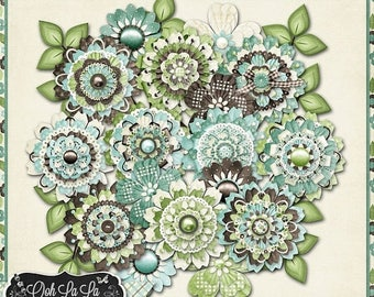 On Sale 50% Afternoon Stroll Layered Flowers Digital Scrapbooking, Spring, Summer, Elements, Embellishments