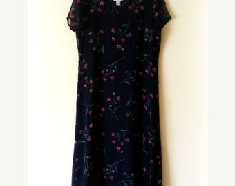 90s Maxi Dress, Long Dress, Robbie Bee, Navy, Silk, Floral, Alternative Dress, Short Sleeve, Size 12, Womens Vintage Clothing