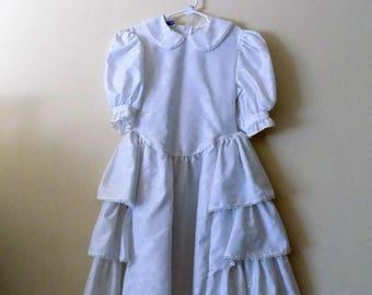 80s Girls Dress, Polly Flinders, White Dress, Peter Pan Collar, Side Ruffle, Easter, Party Dress, Girls Size 8, Girls Vintage Dress