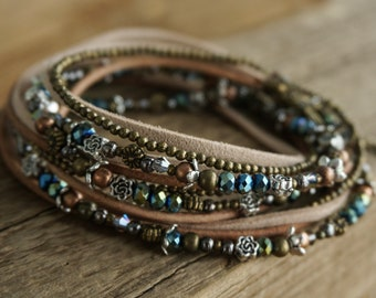 "Bohemian Earthy ""Glowing Twilight"" Leather 3x Wrap Bracelet /Anklet /Necklace, Boho Rustic Gypsy Crystal Multistrand Women's Jewelry ByLEXY"