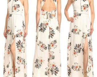 Women's Front Split Maxi Backless Halter Dress