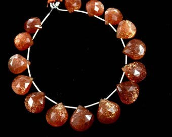 "AAA quality 15 pecs of 12mm-15mm sunstone faceted heart shape brioletts loose gemstone beads 8""inch strand wholesale price jewelry necklace"