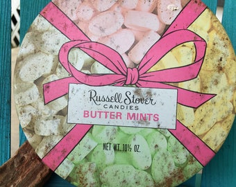"""Russell Stover Candies 1980s Butter Mints Storage Tin ~ 6.5"""" Diameter Storage Tin"""