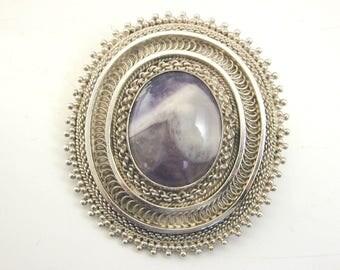 Large silver and fluorite brooch pendant Israeli 18.4 grams Yemenite filigree