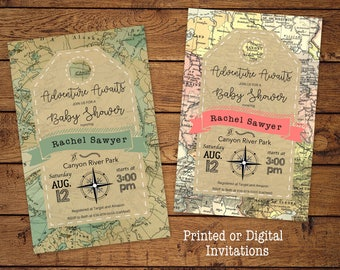Adventure Baby Shower Invitation, Adventure Awaits, Greatest Adventure, Vintage Maps, Explore, printed or digital download