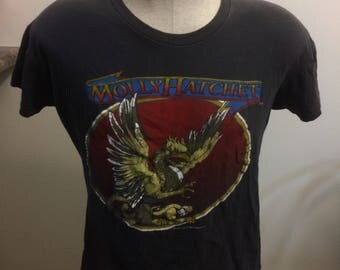 Vintage Molly Hatchet T Shirt Size Small 1982-83 Tour take no prisoners world tour RARE