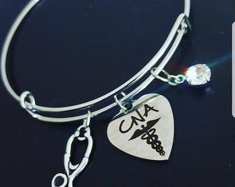 Gift for CNA, cna gifts, Cna bracelet, bangle bracelet, CNA jewelry, bracelet for CNA, certified nursing assistant gift