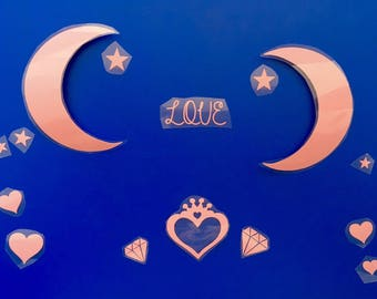 Fusing together rose textiles: Moon theme