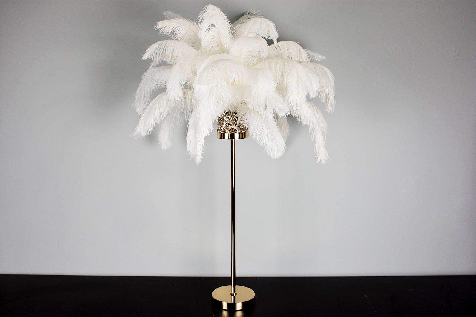 28 Elegant Gold Stand/ Ostrich Feather Centerpiece for