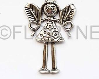 Large 24 X 36mm silver metal Angel pendant