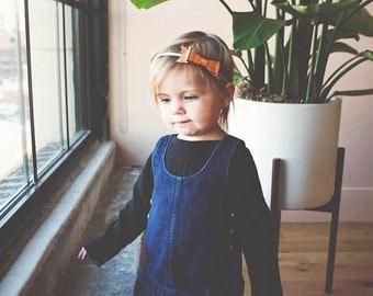 Baby Bows - Baby Girl Headbands - Nylon Headband - 1st Birthday Outfit - Copper Leather Baby Bow Headband