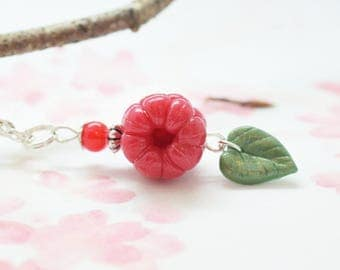 Raspberry necklace nature jewelry