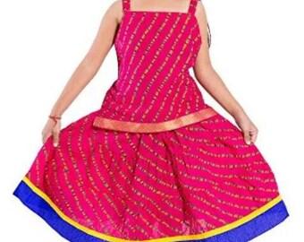 Indian Traditional Pink Color Top and Skirt for Girl - Lehanga Choli