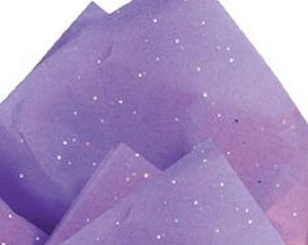 "Lavender Glitter Sparkles -Tissue Paper # 251 .... 10 Large sheets - 20"" x 30"""