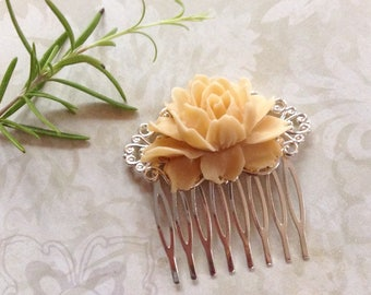 Comb Taupe Wedding Rose Silvertone Hair Comb