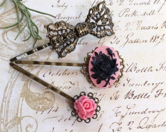Pink And Black Rose And Bronze Bow Hair Clips