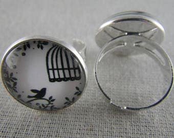 Bague058 - Ring silver, black and white bird cage