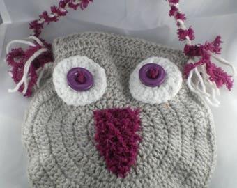 Sac009 - Beige and raspberry OWL clutch bag