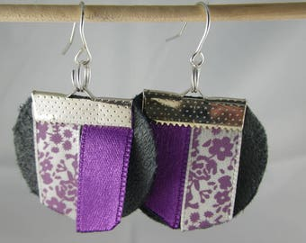 Boucles132 - Earrings grey and purple ribbons