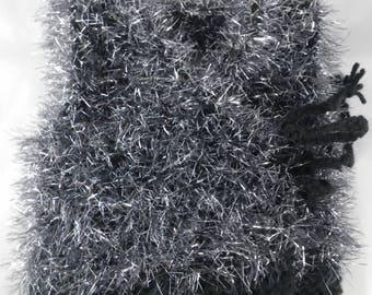 Haut009 - Shimmering gray and Black sleeveless vest