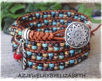 Seed Bead Wrap Bracelet/ Seed Bead Leather Wrap Bracelet/ Beaded Leather Wrap/ Boho Wrap Bracelet/ Beaded Wrap Bracelet.Elizabeth's design