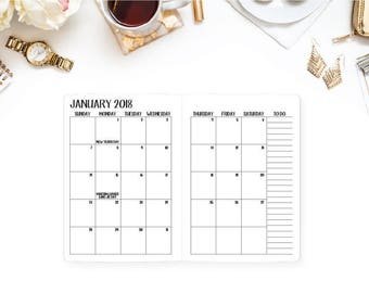 2018 Monthly Traveler's Notebook Insert – Wide size, Composition size - Month on 2 Page - Sunday start - 2018 calendar