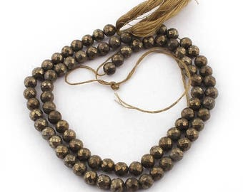 Valentines Day 2 Strands Natural Pyrite Faceted Briolettes - Pyrite Round Ball Beads 6mm 8 Inches SB3971