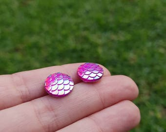 Mermaid Dragon scale colour change aura stud earrings. Hypoallergenic stainless surgical steel posts. Magenta pink based
