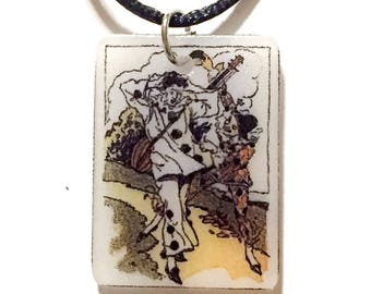 Mime and Harlequin Pendant Necklace