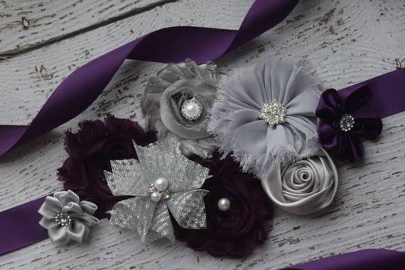 Sash,Plum and silver grey Sash , flower Belt, maternity sash, flower sash