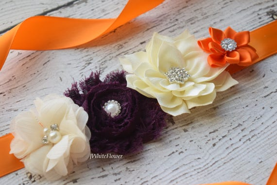 Sash,Orange ivory plum Sash , flower Belt, maternity sash
