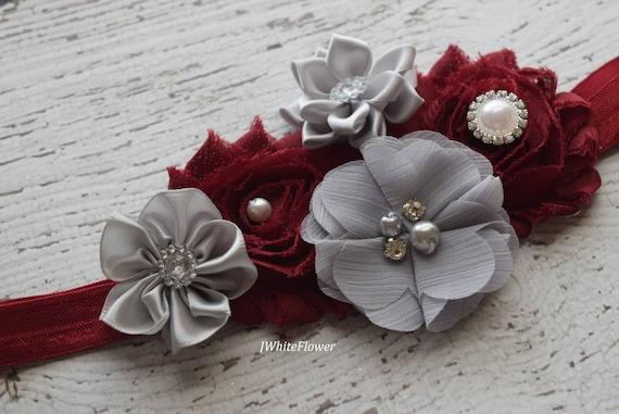Burgundy grey headband,Shabby Flowers Baby Headband, Newborn Headband,  Infant Headband,Baby Headband, Headband Baby