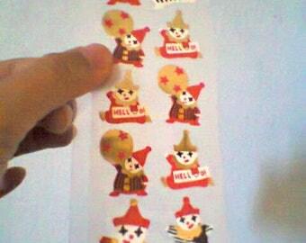 Vintage Hello Clown Gold Japan Stickers Sheet