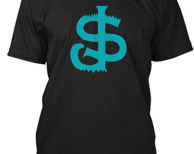 San Jose Sharkbite T-Shirt BLACK Teal Sj Sharks